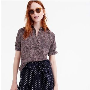 J Crew, silk, button-up, Party Dot, size 10